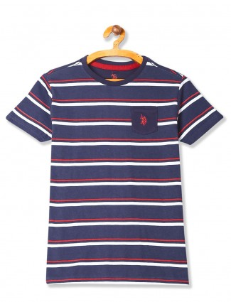 U S Polo navy stripe round neck t-shirt