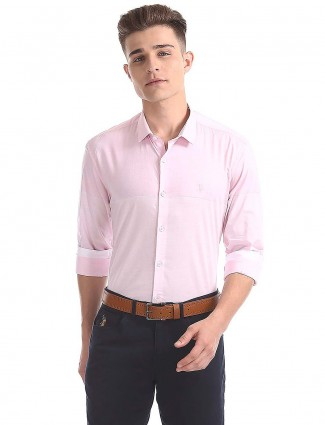 U S Polo pink hue solid shirt