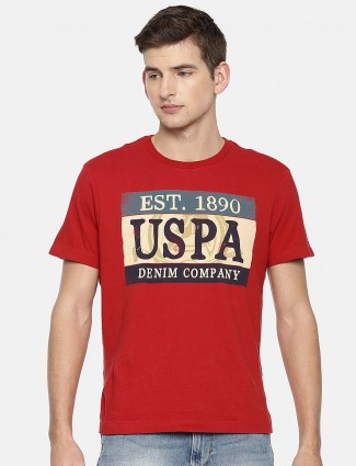 U S Polo red color printed pattern t-shirt