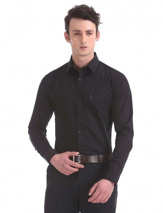 U S Polo solid black hued shirt