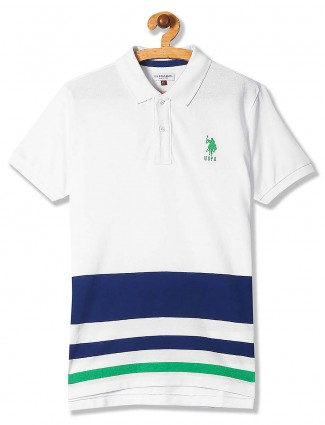 U S Polo solid cotton white t-shirt