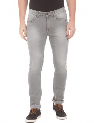 U S Polo solid grey denim jeans