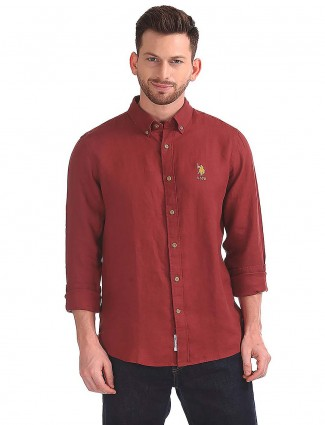 U S Polo solid maroon color shirt