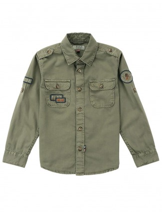 U S Polo solid olive colored shirt