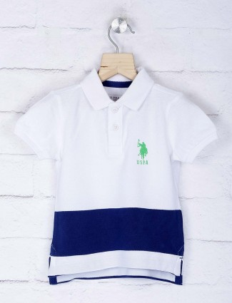 U S Polo white colored high low hem t-shirt