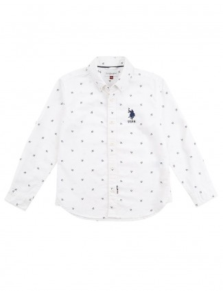 U S Polo white printed pattern shirt