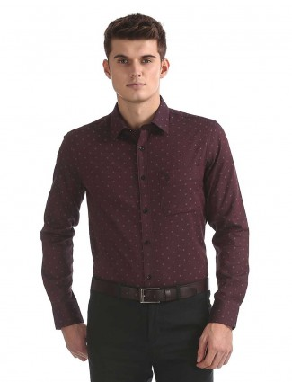 U S Polo wine maroon colored shirt
