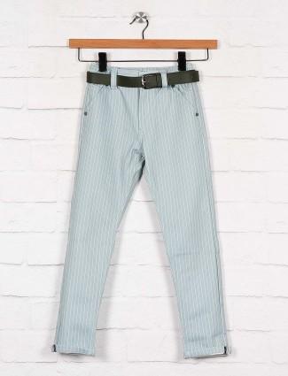 U-tex solid grey cotton casual trouser