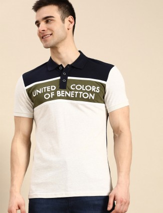UCB emboss printed off white casual polo t-shirt