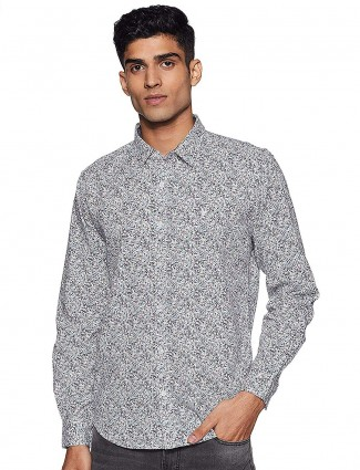 UCB grey printed pattern cotton shirt