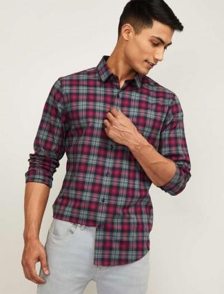 UCB magenta checks cotton casual shirt