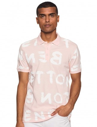 UCB printed light pink half sleeves cotton t-shirt
