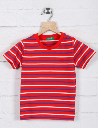 UCB red stripe round neck t-shirt