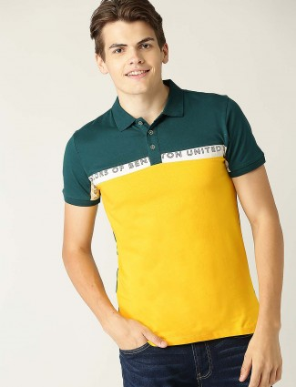 UCB yellow and green solid cotton t-shirt