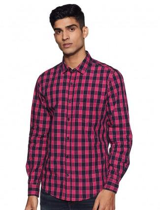 United Colors of Benetton magenta checks shirt