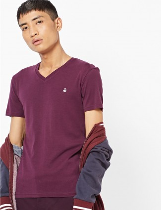 United Colors of Benetton purple cotton t-shirt