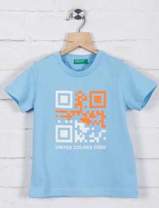 United Colors of Benetton sky blue printed t-shirt