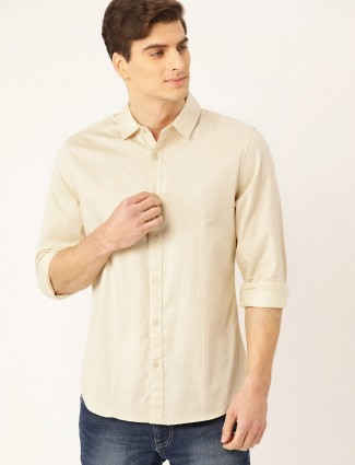 United Colors of Benetton solid beige shirt