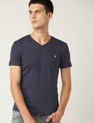 United Colors of Benetton solid v neck navy t-shirt