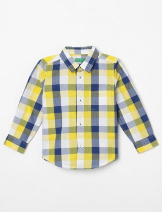 United Colors of Benetton yellow and blue checks boys shirt