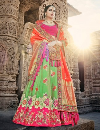 Unstitched green and magenta lehenga choli