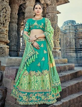 Unstitched green color silk lehenga choli