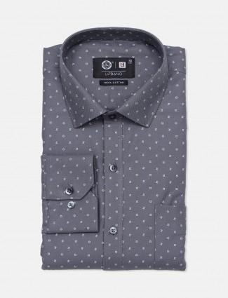 Urbano grey printed cotton mens shirt