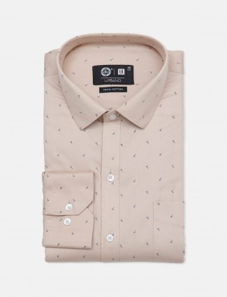 Urbano printed cotton beige party wear shirt