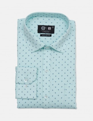 Urbano printed sea green cotton party wear mens shirt