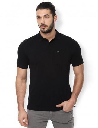 Van Heusen black solid slim fit t-shirt