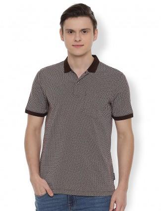 Van Heusen brown printed cotton t-shirt