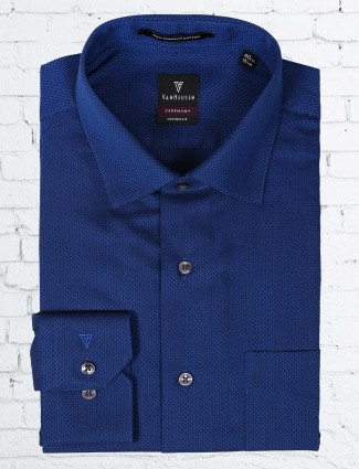 Van Heusen navy color solid shirt