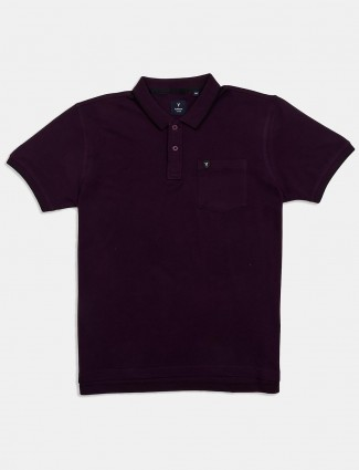 Van Heusen patch pocket solid purple t-shirt