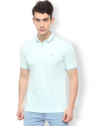Van Heusen pista green solid t-shirt