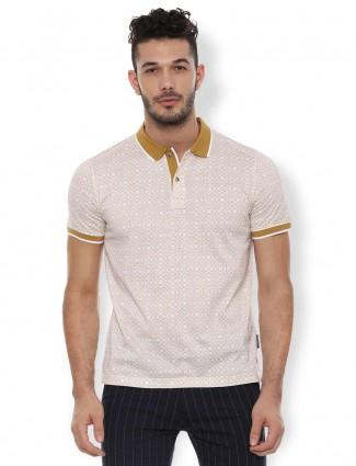 Van Heusen printed beige mens polo t-shirt