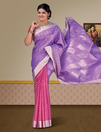 Violet and pink pure silk kanjivaram saree