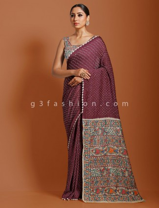 Violet festive wear kalamkari saree in bandhej