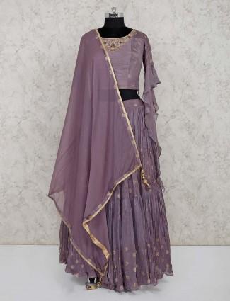 Violet georgette festive wear lehenga choli