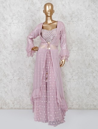 Violet georgette jacket style sharara suit