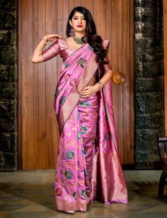 Violet hue banarasi silk saree for wedding occasion