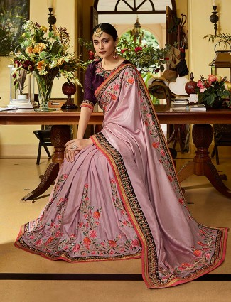 Violet hue festive wear saree in semi silk saree
