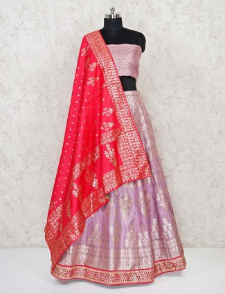 Violet semi stitched wedding lehenga choli in banarasi silk