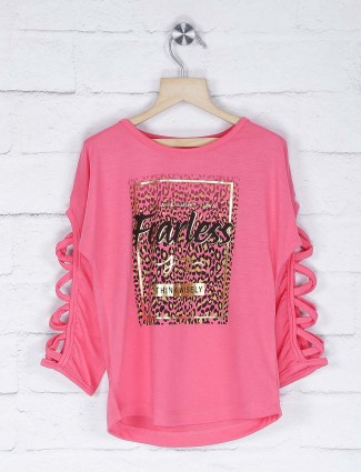 Vitamins pink color pretty top in cotton