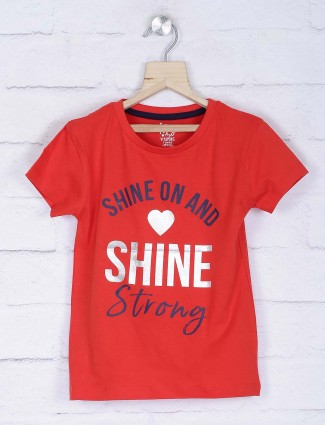 Vitamins red color printed cotton fabric top