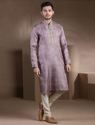 Voilet thread work cotton silk kurta pajama