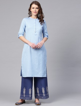 W blue hue cotton fabric kurti