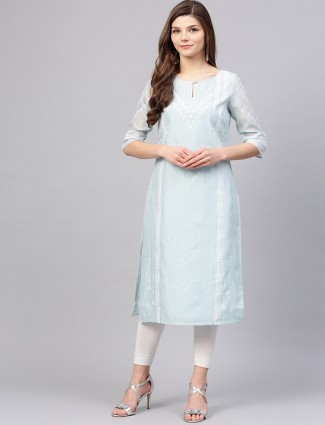 W casual light blue cotton fabric kurti