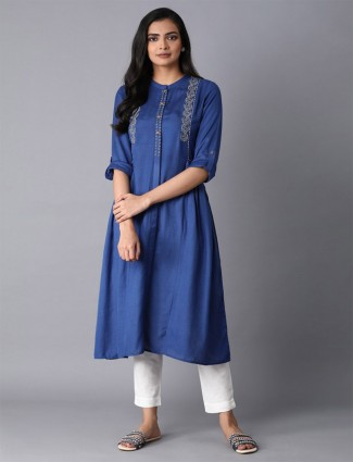 W casual wear navy printed kurti in cotton