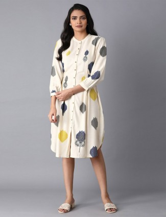 W cream cotton kurti in casual