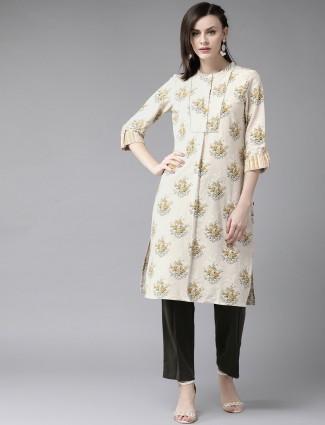 W cream printed casual wear kurti